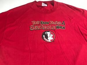 Florida-State-Seminoles-T-Shirt-Adult-L-XL-You-Know-You-039-re-A-Fan-When-FSU-Alumni