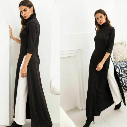 Women Solid Color Dress High Collar Long Knitted Skirt Sleeve Ball Gown Casual