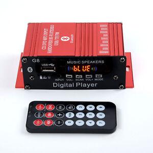 Carte-Sd-Amplificateur-2-Chaines-Rouge-Voiture-Audio-Moto-Bluetooth-Fm-Recent