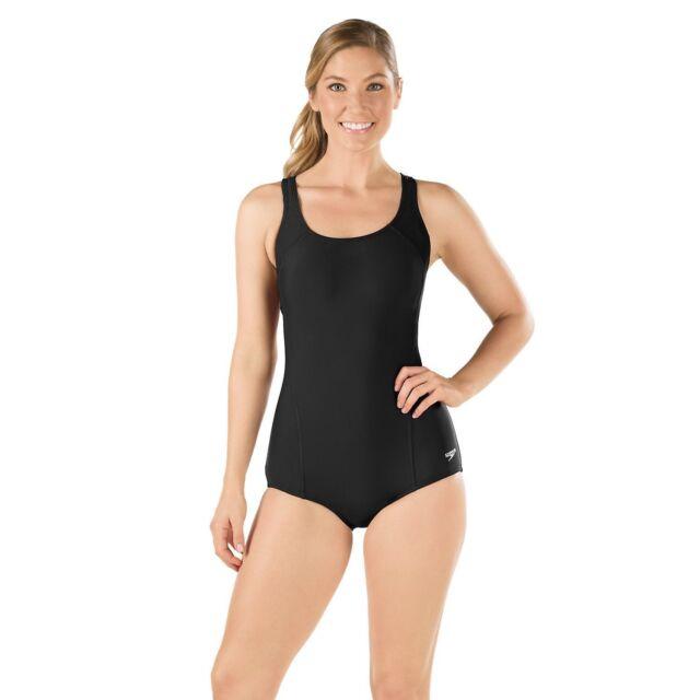 dbd512e1e317 Speedo Womens Conservative Ultraback One Piece Princess Seam Swimsuit SZ 6  Black