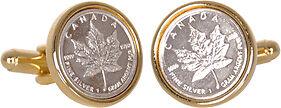 Canadian Maple Leaf Coin Money Canada  Silver Bullion Cufflinks