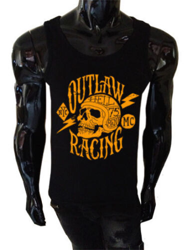 Mens Outlaw Racing Tank Top SCREENPRINTED Biker Vest skull retro metal bike