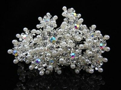 Wholesale Crystal Snowflake Wedding Bridal Pearl Christmas Diamante Hair Pins