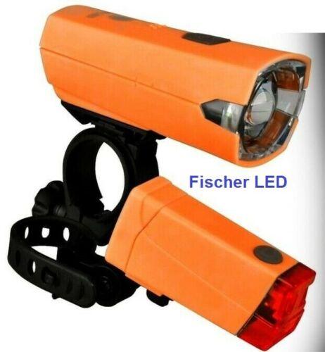 Fischer Lichtset Licht Set Frontleuchte Rückleuchte Batterie Fahrrad 12 LUX NEU
