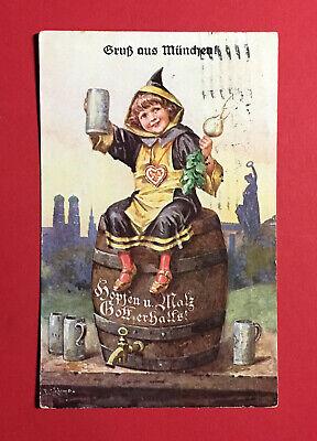 Bier & Brauerei LiebenswüRdig Reklame Ak MÜnchen 1934 Hofbräuhaus Münchner Kindl Bier Bierkrug 48638 Ansichtskarten