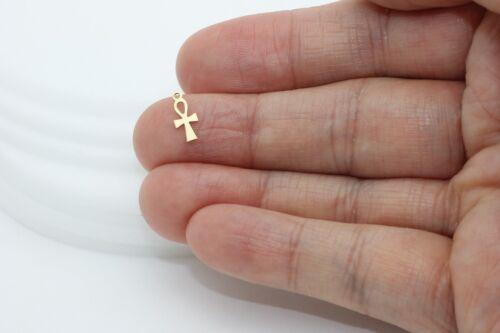 14k gold tiny Egyptian Ankh Cross Charm Pendant DIY