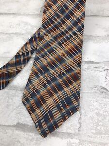 "Structure Men's Silk Neck Tie Multi-Color Blue Orange Plaid Check USA 58x4"""