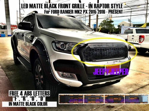 MATTE BLACK WILDTRAK LED FRONT GRILLE FOR FORD RANGER MK2 XLS XLT PX2 2015 16 17