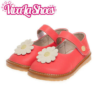 Girls Infant Toddler - Leather Squeaky Shoes - Red with White Flower