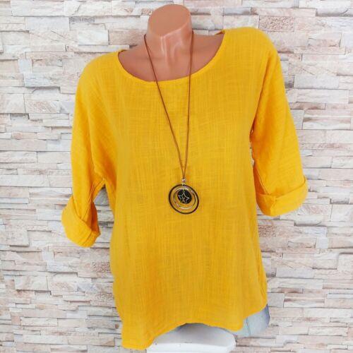 MADE IN ITALY Tunika Shirt 30/% Leinen Blusenshirt Kette dunkel-gelb 36 38 40 4