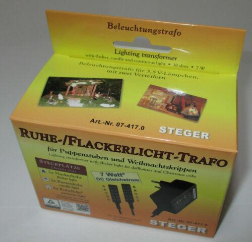 Kahlert Steger Ruhe-Flackerlicht-Trafo für Puppenhäuser//Krippen 3,5Volt-7 Watt