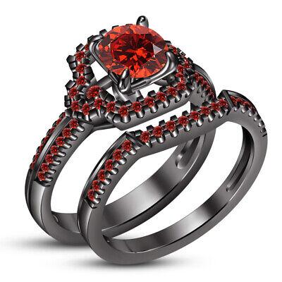 925 Sterling Silver Wedding Engagement Ring Set Bridal Ring Set 14K Black Gold Finish Red Garnet Emerald Cut Engagement Ring Set