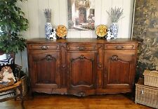 Antique French Country Buffet Sideboard Server Provence Carved Shell Dark Oak