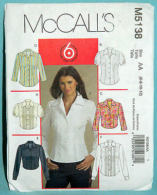 Uncut McCalls Sz 6-12 Fitted Front Button Collar Shirts in 2 Length Pattern 5138