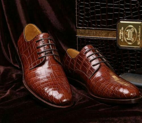 Men's Handmade Genuine Brown Calf Leather Crocodile Print Derby Lace-Up shoes
