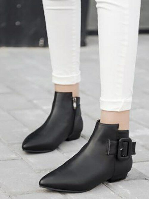 Bottes Élégantes Pays-Bas Fashion Zip noir Confort Cuir Synthétique CW956