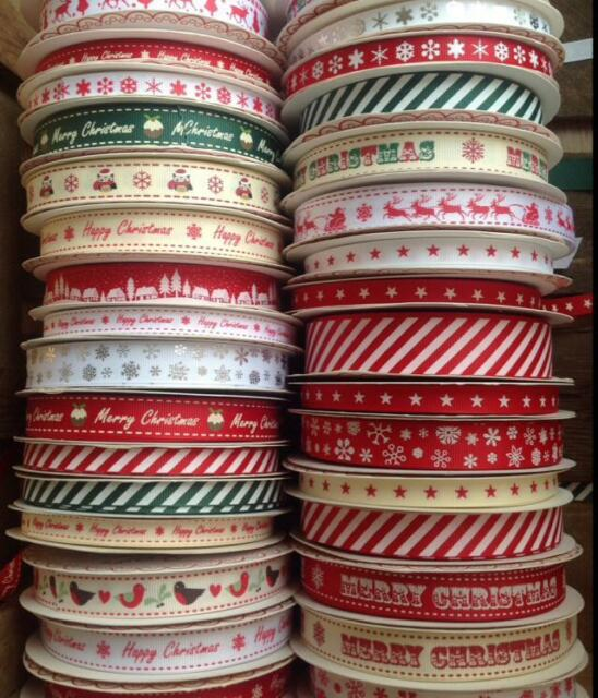 Berties Bows Christmas Grosgrain Ribbon- Santa Tree, Snowflake, Merry, Sleigh