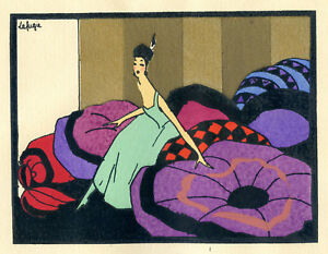 1930s-French-Pochoir-Print-Art-Deco-LAFUGIE-Young-Woman-in-Bedroom-S