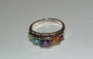 Sterling Silver Semi Precious Stones Lady's Band Ring Size 8 Blue Topaz Garnet +