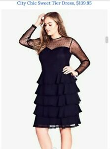 CITY-CHIC-GORGEOUS-NEW-BLACK-SWEET-TIER-DRESS-SIZE-M-BNWT-RRP-139-95