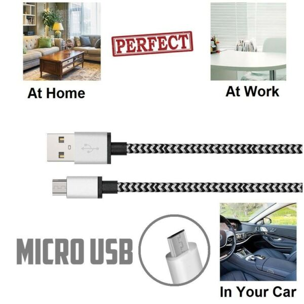3pack 3FT Premium Micro USB Tangle-free Braided Cable Fast Charger for Android