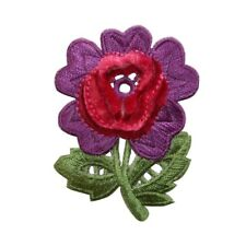 ID 6444 Shiny Purple Flowers Plant Patch Garden Embroidered Iron On Applique