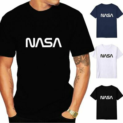 NASA Tee Men/'s Space Astronaut  T Shirt  Cotton Short Sleeve Top Black Navy