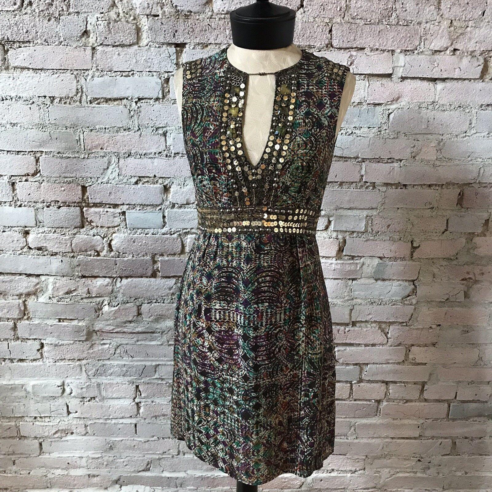 Nanette Lepore Women's Dress BOHO print Beaded Sundress Sleeveless 2