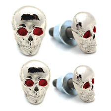 4 Silver Plated Aluminum - Custom License Plate Frame Tag Bolts -Skull Red Eye