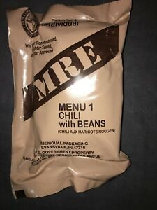SINGLE - US Military MRE - Menu 1 Chili with Beans - Meal Ready to Eat - SEALED