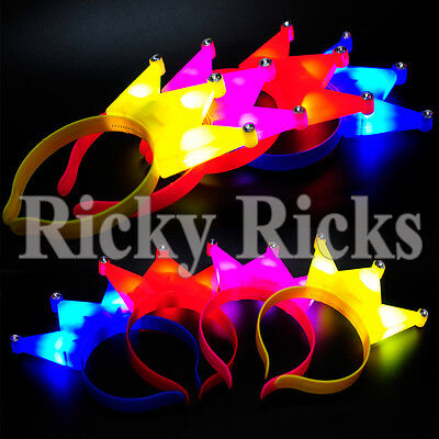 12 Crowns Ears LED Headbands Light Up Party Rave Wear Costume Flashing Favors