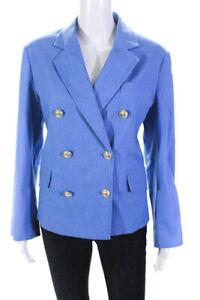 Derek Lam 10 Crosby Womens Myla Double Breasted Cropped Blazer Blue Size 4