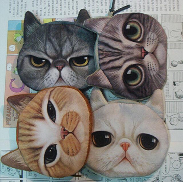 Kids Cute Cat Face Zipper Case Coin Womens Purse Wallet Makeup Bag Pouch HI