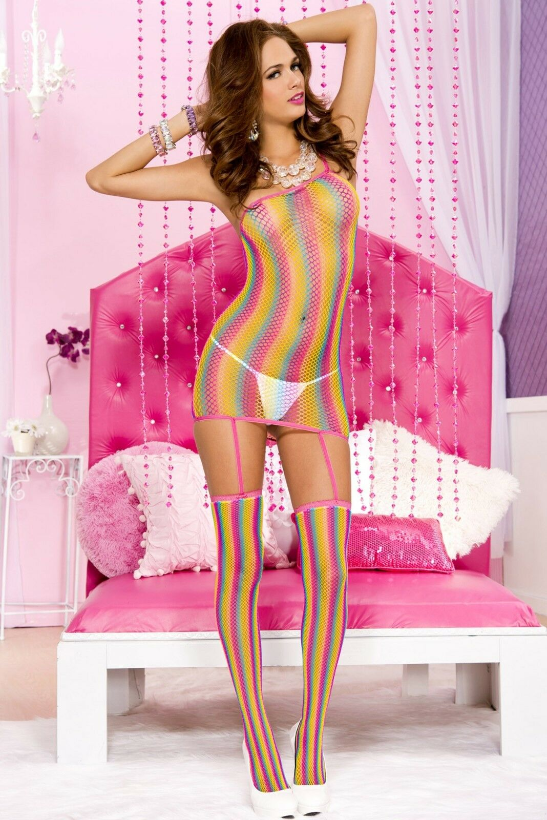 38834db3bc0bc XL Rainbow Fishnet Garter Chemise Stockings Plus Size Lingerie ...