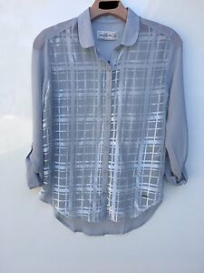 NWT-Womens-Abercrombie-amp-Fitch-Long-Sleeve-Button-Down-Blouse-Gray-Retail-68