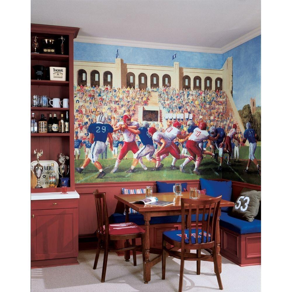 XL FOOTBALL PREPASTED WALL MURAL Boys Bedroom Wallpaper Athletic Room Decor