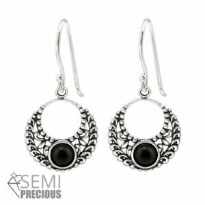 925-Sterling-Silver-Circle-with-Black-Onyx-Gemstone-Drop-Dangle-Earrings-D2