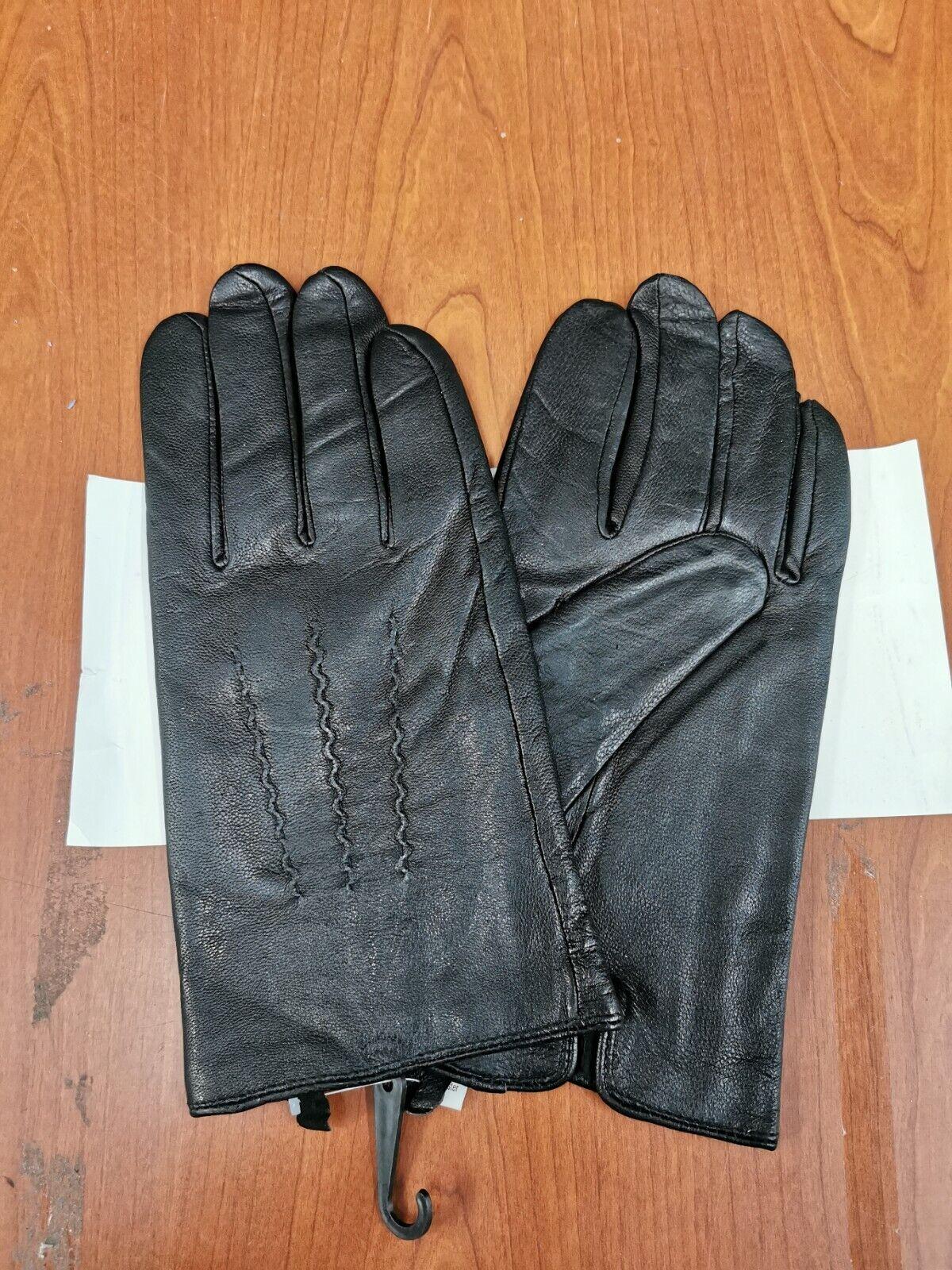 Black Leather Gloves Men's Medium