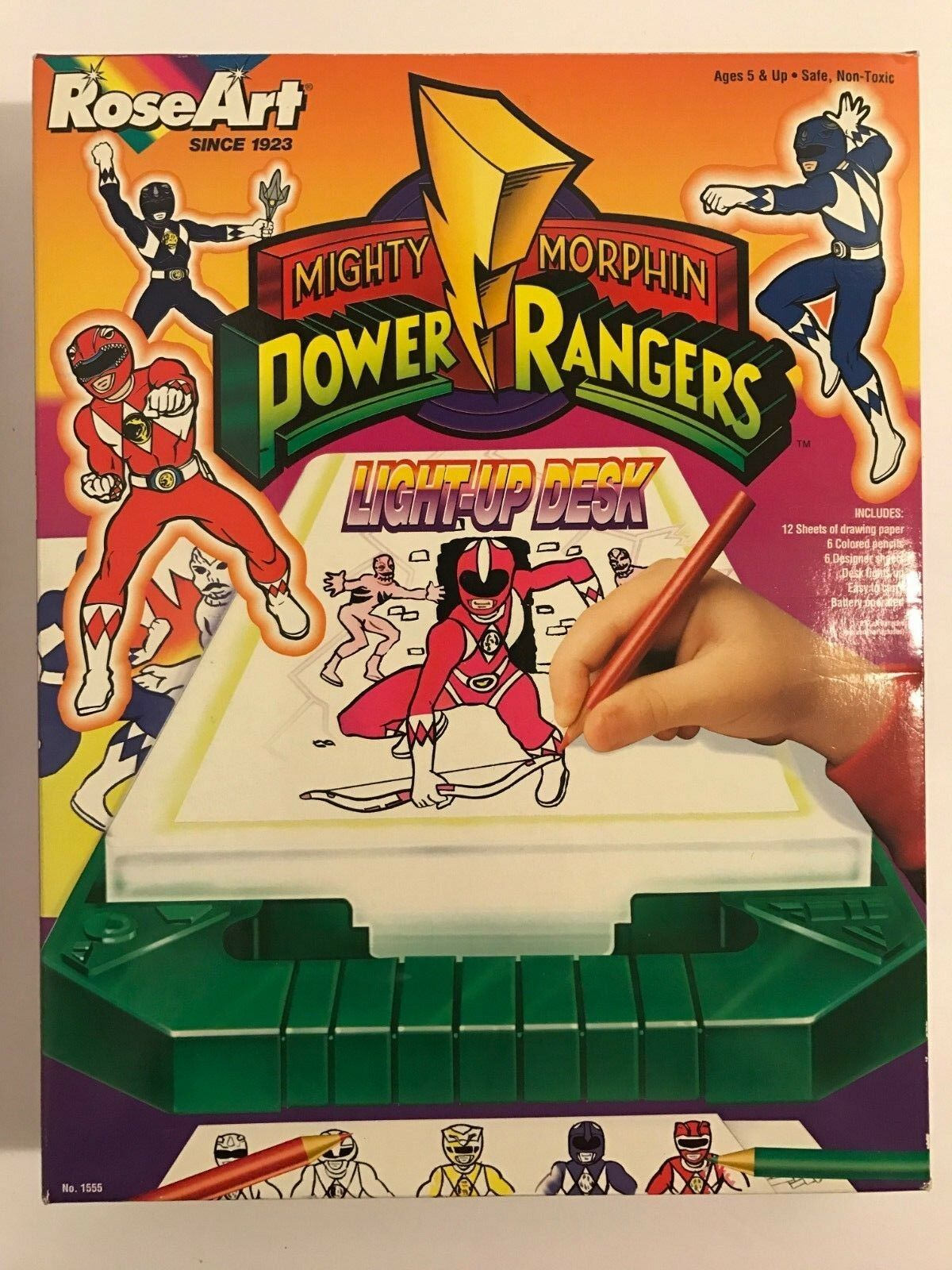 1994 Mighty Morphin Power Rangers Bandai Light Up Drawing Desk RARE