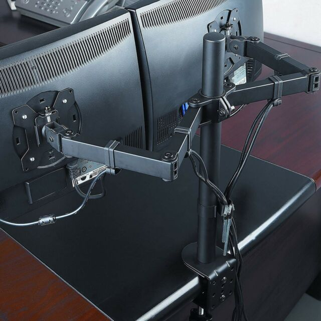 "13""- 27"" Double Dual Display Computer Screen Monitor Arm Mount Desk Stand LED CC"