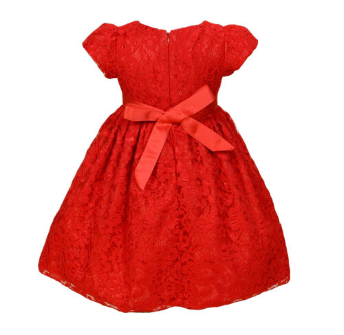 New Lace Flower Girl Bridesmaid Party Dress with Tights Ivory Red 3 4 5 6 7 8 9
