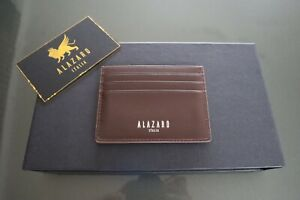 Alazaro-Italia-Men-039-s-Brown-Calf-Leather-Wallet-Card-Holder-Made-in-Italy