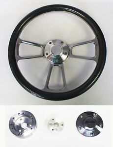 Nova-Chevelle-Impala-El-Camino-Steering-Wheel-Carbon-Fiber-amp-Billet-14-034-Bowtie