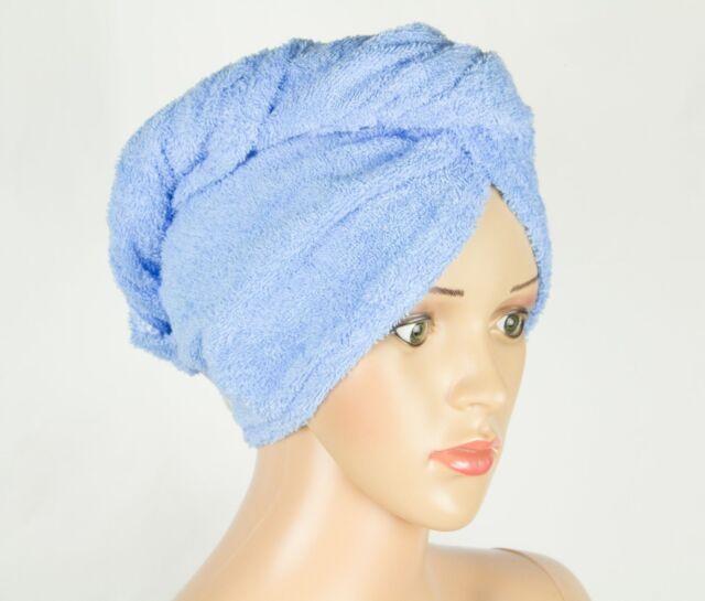 100/% Pure Cotton Hair Wrap Head Towel Turbie Turban Twist Drying Button White