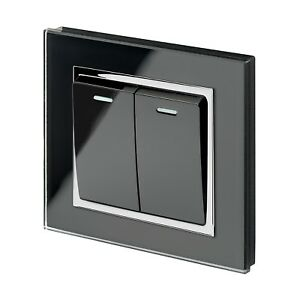RetroTouch-Crystal-Glass-2-Gang-1-or-2-Way-On-Off-Light-Switch-Black-CT-00221