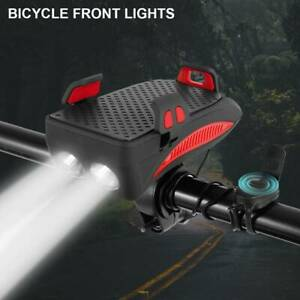New-Bike-Front-Light-Alarm-Bell-Phone-Horn-External-holder-Flashlight-Bicycle-AU