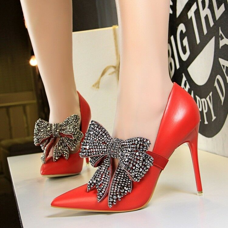 WOmen's High Stilettos heels Bow Rhinestoe Pointed Toe Ankle Strap party shoes