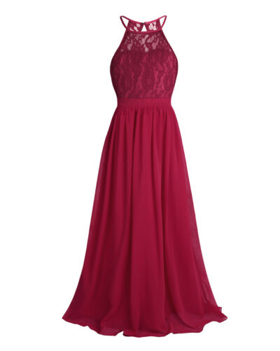 Kid Girls Floral Lace Chiffon Dress Pageant Wedding Bridesmaid Party Formal Gown