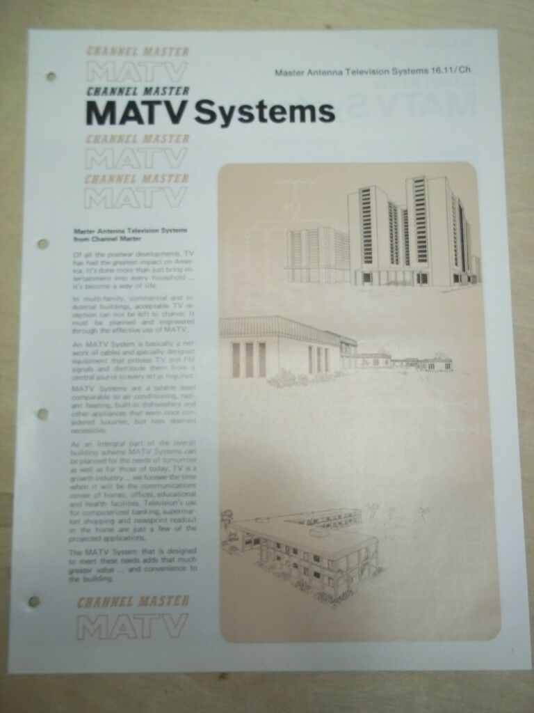 Vtg Channel Master Brochure~Antenna/Television MATV Systems~Catalog. Available Now for 8.98
