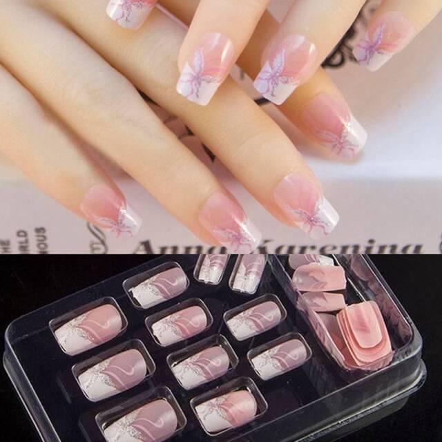 24Pcs Pink Series Full Sizes False Nail Art With Glue Pre Design Fake Nail  Tips - 24pcs Pink Series Full Sizes False Nail Art With Glue Pre Design